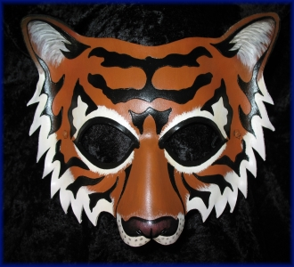 Orange Tiger Leather Mask