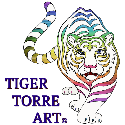 Tiger Torre Art Rainbow Tiger Logo, for Tiger Torre Art, Leather Masks and More